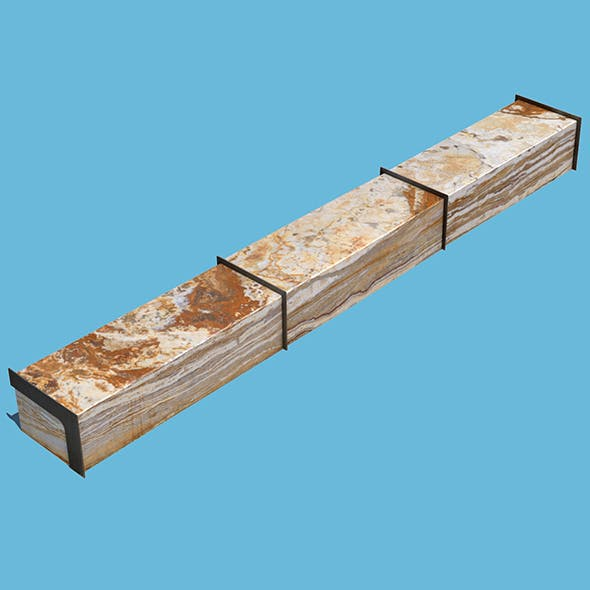 Long Marble Bench - 3DOcean Item for Sale