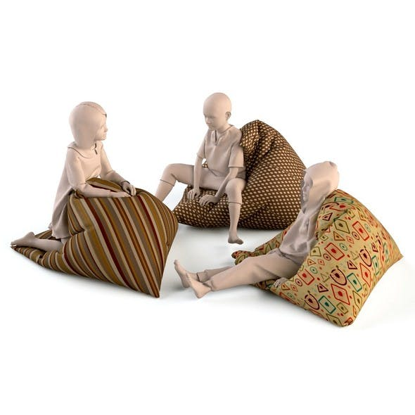 Bean bag chair with child mannequins