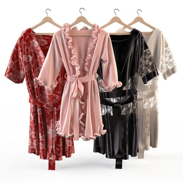 Set of womens silk robes - 3DOcean Item for Sale