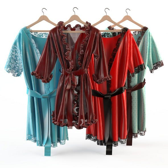 Set of womens silk robes 2