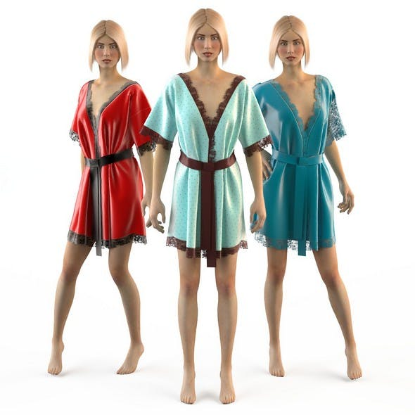 Set of women silk robes