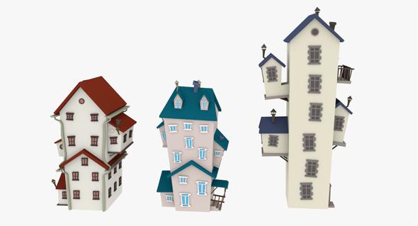 LowPoly Cartoon Houses Pack - 3DOcean Item for Sale