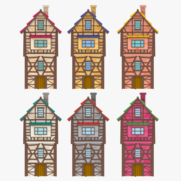 LowPoly Medieval Houses - 3DOcean Item for Sale