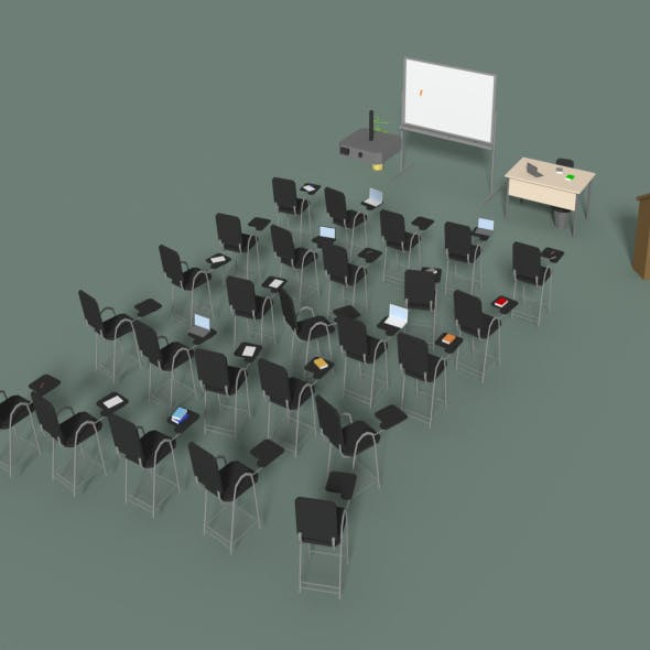 Low Poly Office Conference Hall - 3DOcean Item for Sale