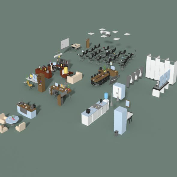 Low Poly Office Interior Set - 3DOcean Item for Sale