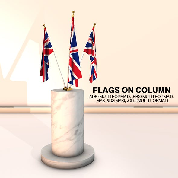 Flags on Column - 3DOcean Item for Sale