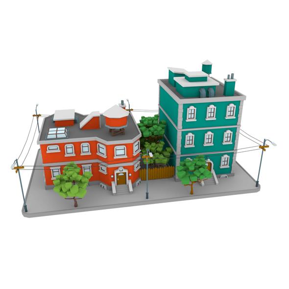 LowPoly City Block01 - 3DOcean Item for Sale