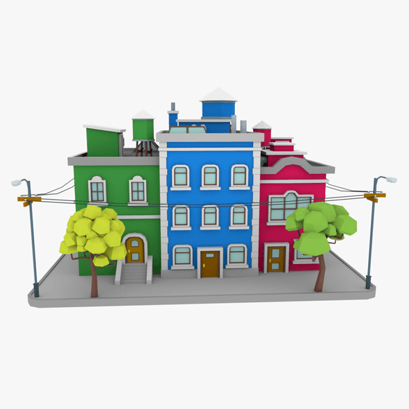 LowPoly City Block04 - 3DOcean Item for Sale