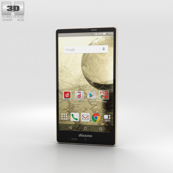 Sharp Aquos Ever SH-04G Gold - 3DOcean Item for Sale