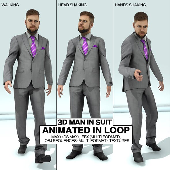 Man in Suit Animated 3D Pack