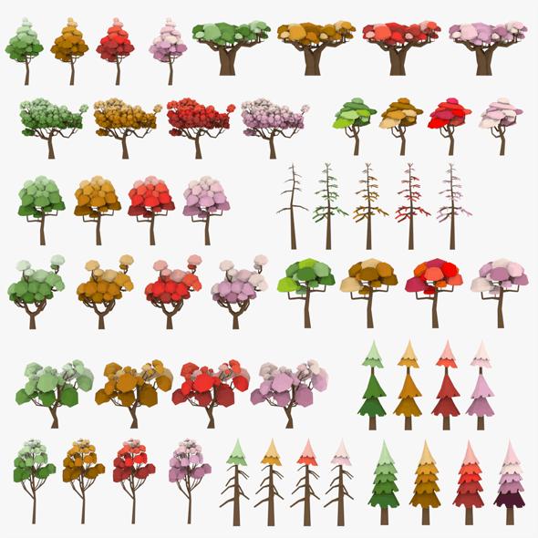 Cartoon LowPoly Trees Pack - 3DOcean Item for Sale