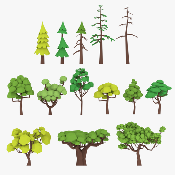 3D LowPoly Trees Pack Lite model