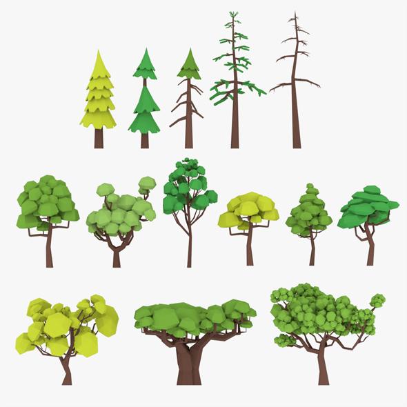 3D LowPoly Trees Pack Lite model