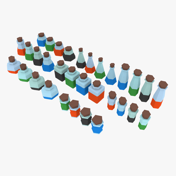 3D LowPoly Potions Pack - 3DOcean Item for Sale