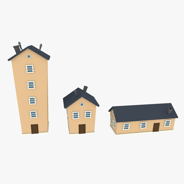 LowPoly Houses Pack 02 3D
