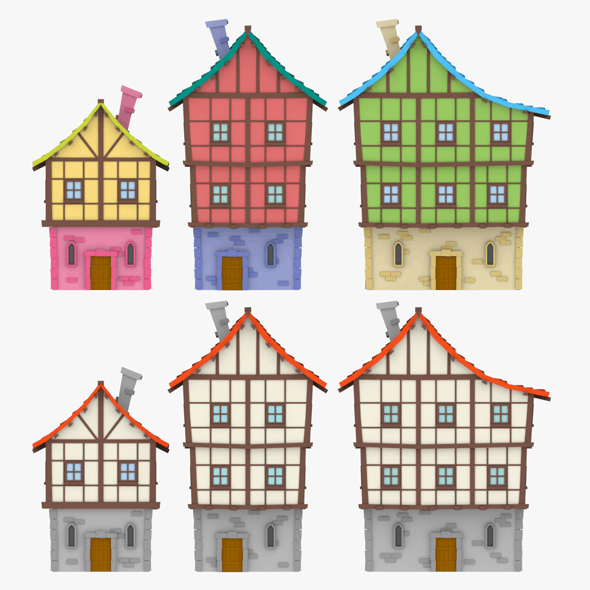 LowPoly Medieval Houses02 - 3DOcean Item for Sale