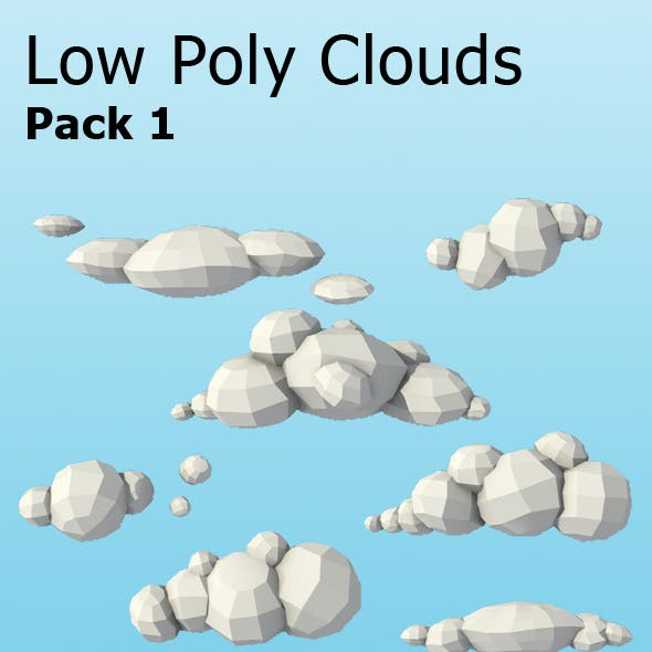 10 Low Poly Clouds Pack
