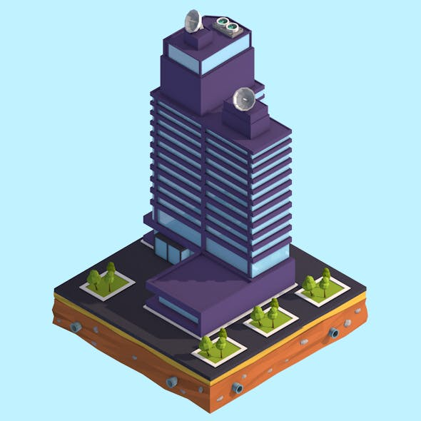 Cartoon Low Poly Business Center