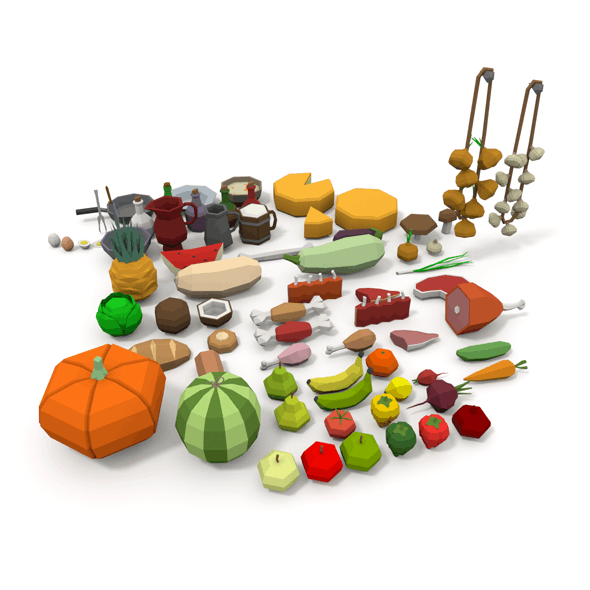 LowPoly Food Pack - 3DOcean Item for Sale