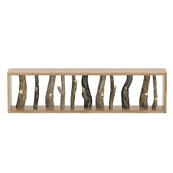 Wall Shelf with Tree Branches