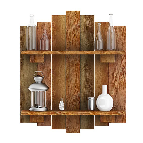 Wooden Wall Decoration with Vases