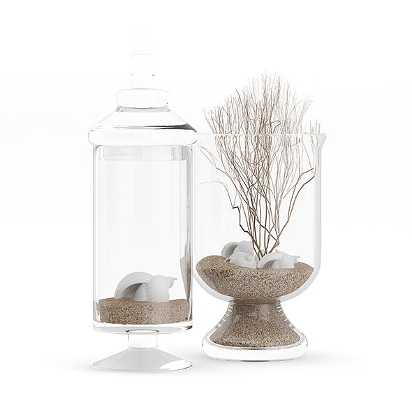 Glass Containers with Sand and Shells - 3DOcean Item for Sale