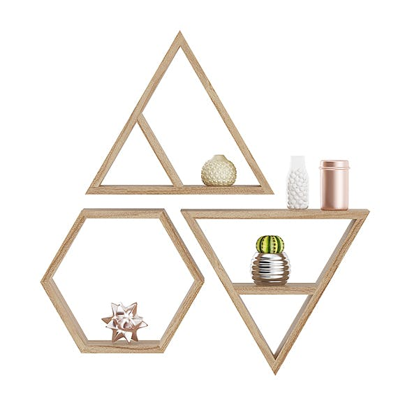 Wooden Wall Shelf with Decorations - 3DOcean Item for Sale