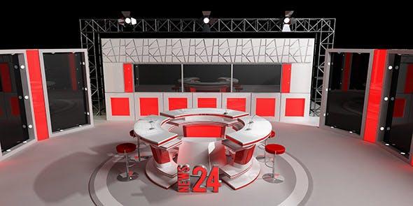 tv news studio - 3DOcean Item for Sale