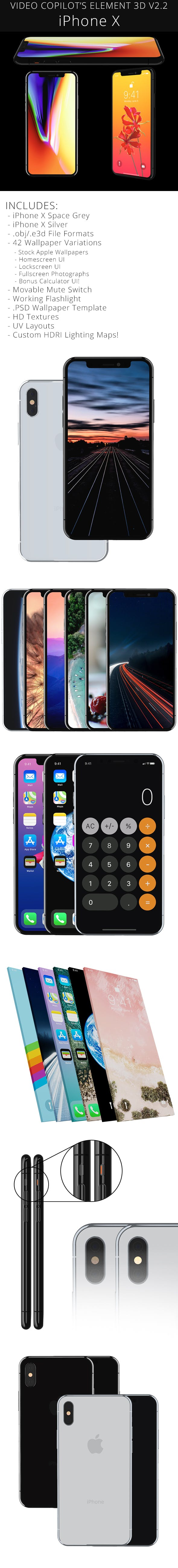 Element 3D Apple iPhone X - 3DOcean Item for Sale