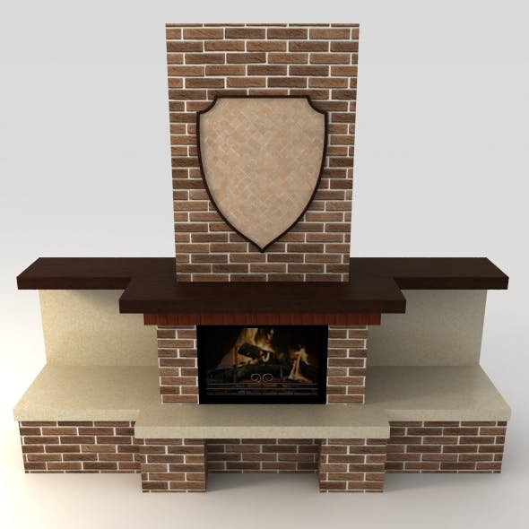 Open brick fireplace