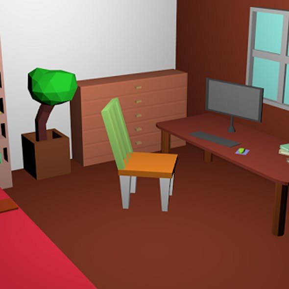 Low poly Room pack 01 - childrens room