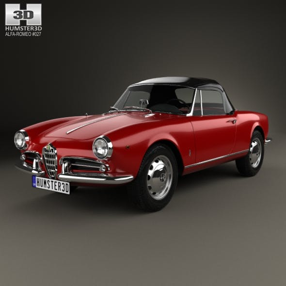 Alfa Romeo Giulietta spider with HQ interior 1955 - 3DOcean Item for Sale