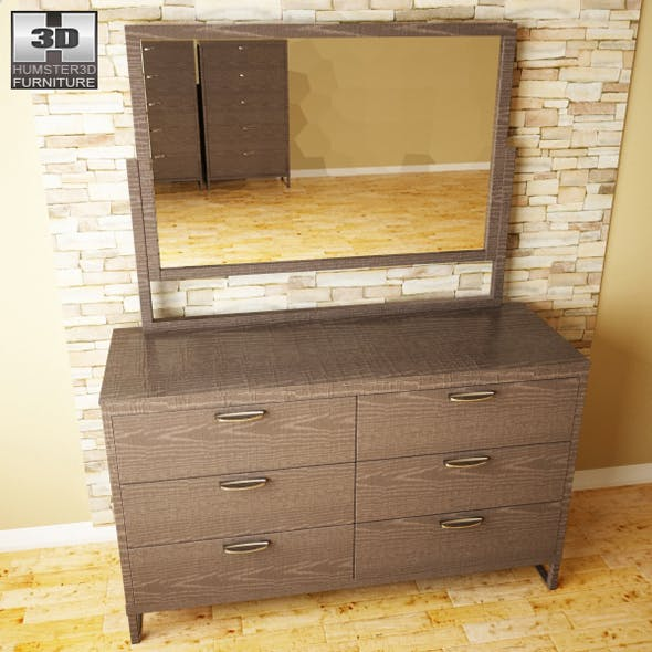 Ashley Sonya Dresser & Mirror - 3D model. - 3DOcean Item for Sale