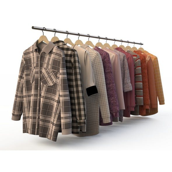 Set of men's wear, shirt, blouse, shirt, cardigan, - 3DOcean Item for Sale