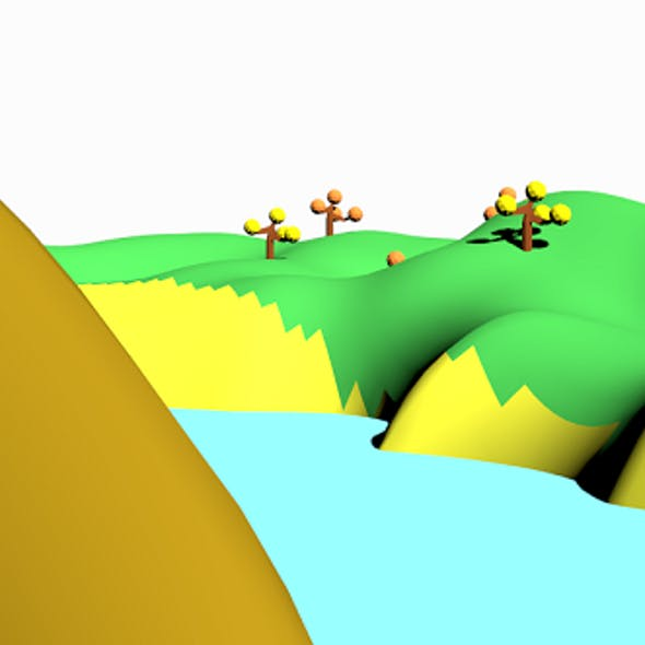 Lowpoly Terrain 02 - Island with lake