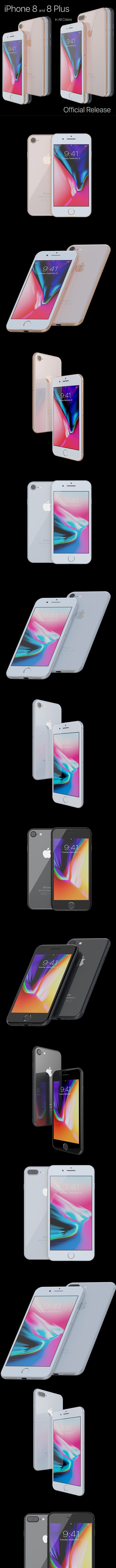 Apple iPhone 8 and 8 Plus Collection - 3DOcean Item for Sale