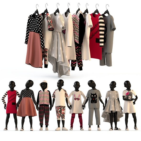 Children's clothing on mannequins and hangers set 2
