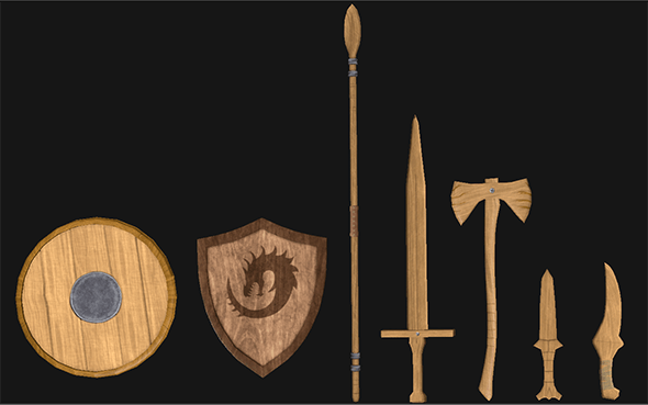 Wooden & Metal Weapon Set (Low Poly) - 3DOcean Item for Sale