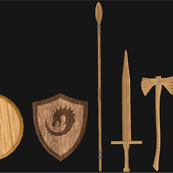 Wooden & Metal Weapon Set (Low Poly)