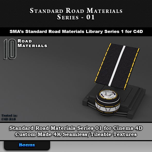 10 x Standard Road Materials for Cinema 4D