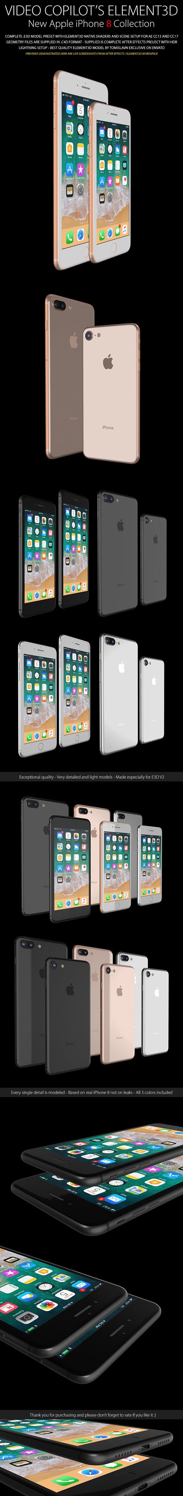 Element3D - iPhone 8 / 8 Plus Collection - 3DOcean Item for Sale