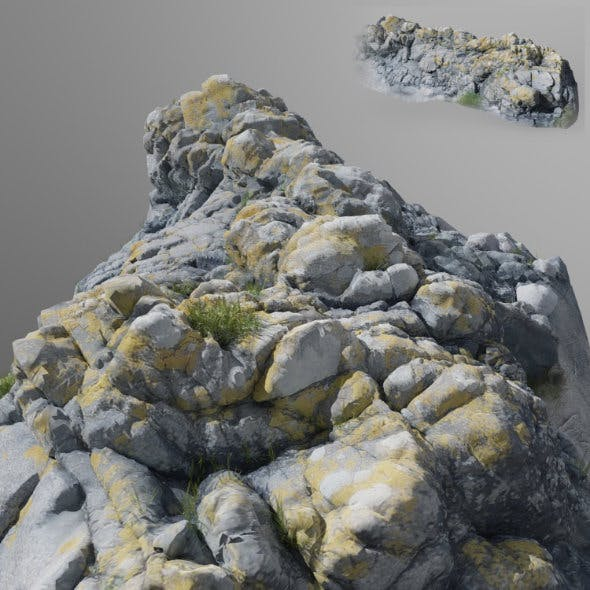 3d scanned stone cliff - 3DOcean Item for Sale
