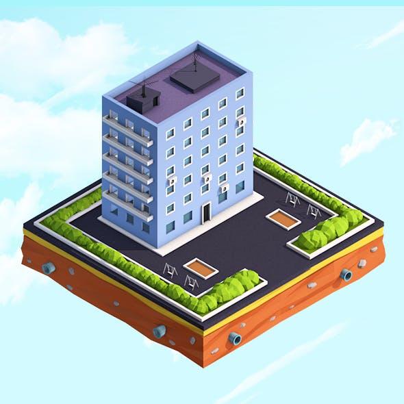 Cartoon Low Poly Residental House