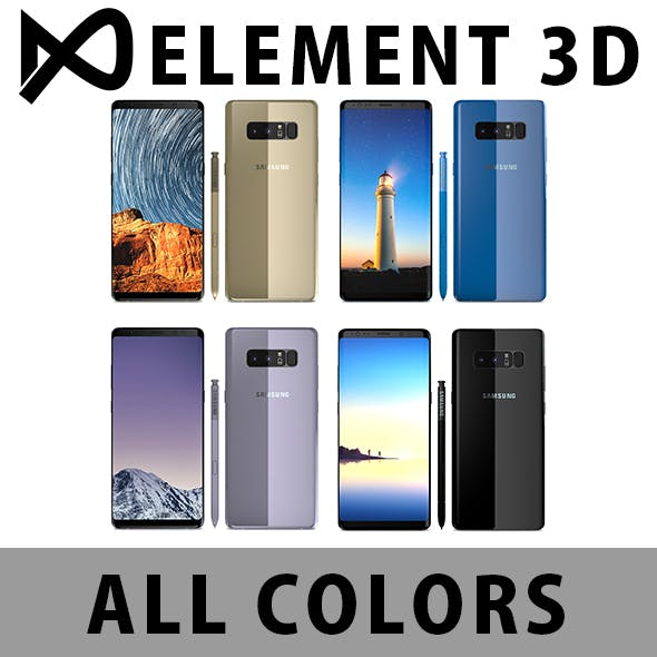 Element 3D V2.2 - Samsung Galaxy Note 8 All Colors - 3DOcean Item for Sale