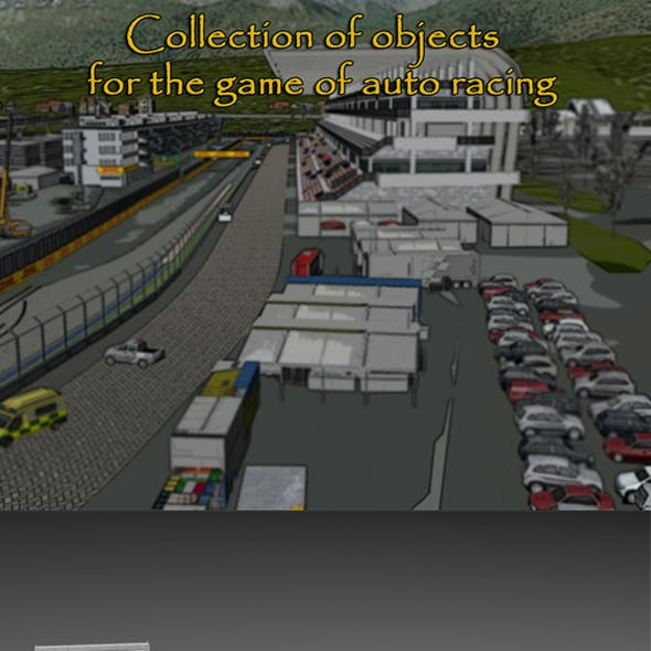 Collection of objects for the game of auto racing