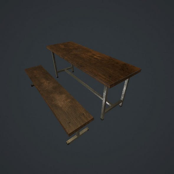 Old bench and table pbr