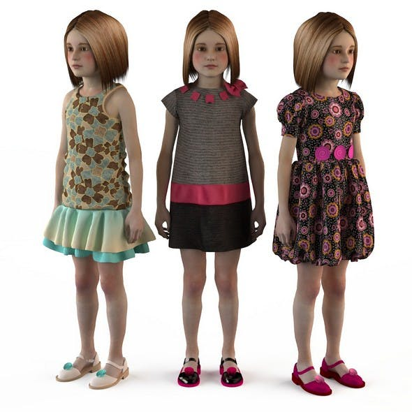Baby dress mannequin girls skirt set - 3DOcean Item for Sale