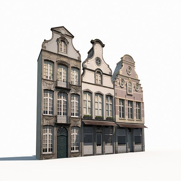 Buildings Facade 180 Low Poly - 3DOcean Item for Sale