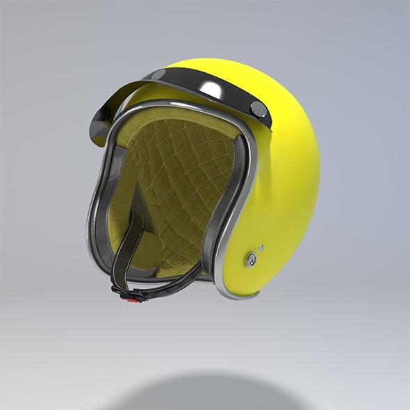 Yellow Retro Motorcycle Helmet