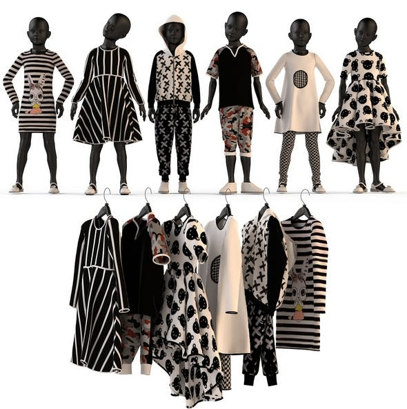 Children's clothing on mannequins and hangers set - 3DOcean Item for Sale